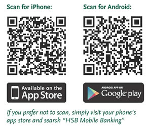 Picture of QR Codes for downloading iPhone App on left side and Android on right side.