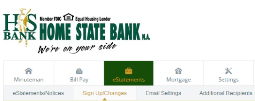 Picture of screen showing where E-Statements tab is.  It is the third tab over, moving left to right, and below our corporate logo.