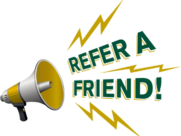 "picture icon of a megaphone and a ""Refer a Friend"" copy"